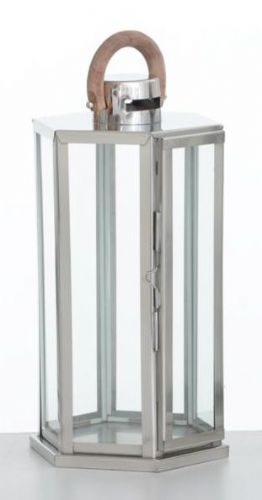 Hexagon Polished Stainless Steel Lantern Small